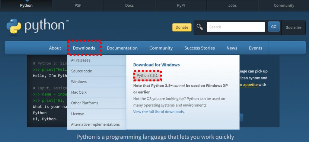 Python,ダウンロード
